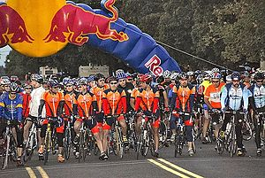 Starting line of the 2007 LOTOJA bicycle race....