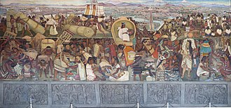 Detail of Diego Rivera's mural depicting the Aztec market of Tlatelolco at the Mexican National palace La Gran Tenochtitlan.JPG