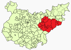 Location of the comarca in the province of Badajoz