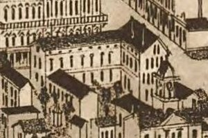 Bijou Theatre (Knoxville) - The Lamar House on an 1886 map of Knoxville, showing the original section (facing Gay Street, on the right), and the two early-1850s ell wings