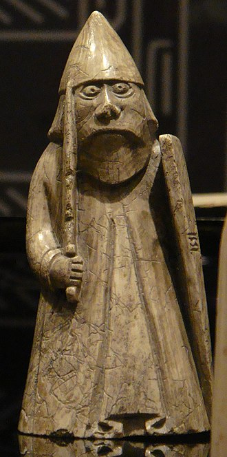 Battle of Renfrew - A rook gaming piece of the so-called Lewis chessmen. The Scandinavian connections of leading members of the Isles may have been reflected in their military armament, and could have resembled that depicted upon such gaming pieces.
