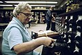 Librarian at the card files at a senior high school in New Ulm, Minnesota.jpg