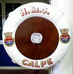 Lifebouy of HMS Calpe shore establishment.jpg