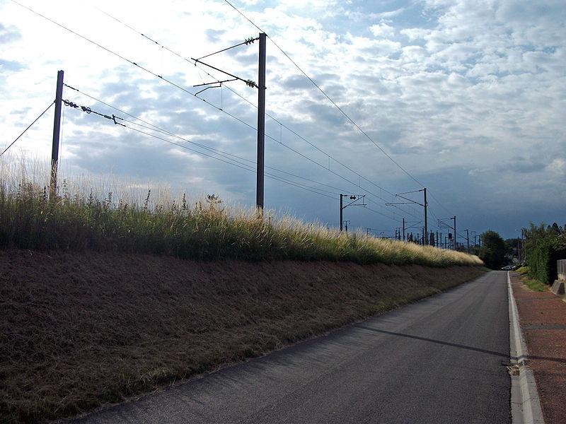 Fin de caténaire sur voie paire de la ligne de Moret à Lyon