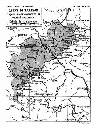 Second Balkan War - The Serbian-Bulgarian pre-war division of Macedonia, including the contested area
