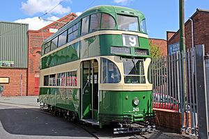 Wirral Transport Museum - Liverpool tram No. 245, outside the museum at Taylor Street in Birkenhead