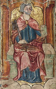 Llanbeblig Hours (f. 2v.) St. Peter, holding a key and a book.jpg