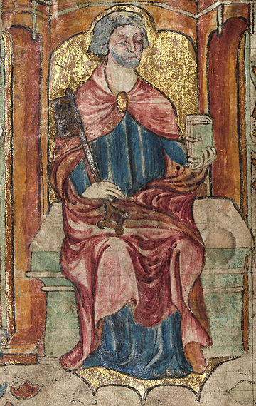 St. Peter, holding a key and a book, depicted in a medieval Welsh manuscript, 1390-1400 Llanbeblig Hours (f. 2v.) St. Peter, holding a key and a book.jpg