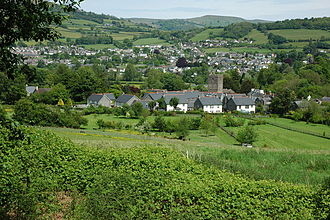 Llangattock (Crickhowell) - The village and church from the canal, with Crickhowell beyond.