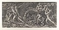 Lo Stregozzo- a female witch riding on an animal skeleton, preceded by two men and a boy on a goat blowing on a horn, another naked man behind carrying two bones MET DP854134.jpg
