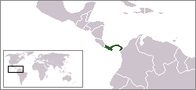 A map showing the location of Panama