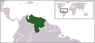 A map showing the location of Venezuela