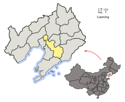 Location of Anshan City jurisdiction in Liaoning