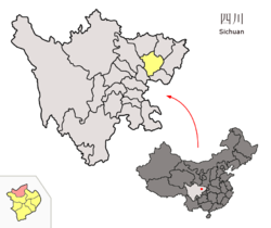 Location of Langzhong City (red) in Nanchong City (yellow) and Sichuan