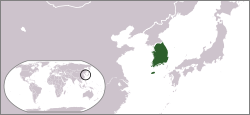 English: Locator map of South Korea.