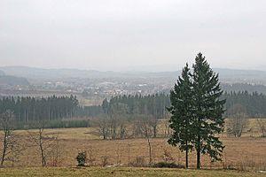 Lomnice nad Popelkou - Image: Lomnice nad Popelkou pohled z úbočí kopce Tábor