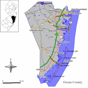 Position of Long Beach Island (pink) relative ...