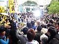 Long Ping Station outside people steal flag 20150301.jpg