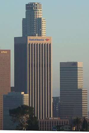 Bank of America Plaza (Los Angeles) - Image: Los Angeles Bank America building from Historic LAPD Academy