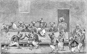 Louis Wain - An early Louis Wain caricature, featuring bulldogs rather than cats