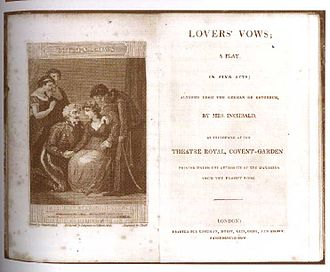 Lovers' Vows - Title page of Elizabeth Inchbald's Lovers' Vows (London: Longman, Hurst, Rees, Orme, and Brown, 1796)