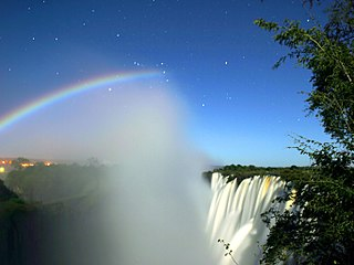 rainbow produced by moonlight rather than sunlight