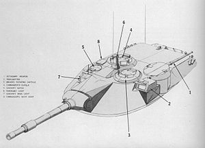 MBT-70 - Turret weapon layout, autocannon in stowed position, barrel pointing backwards