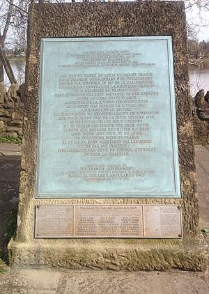 Marietta, Ohio - The French monument in Marietta, Ohio; replica of a 1749 plaque by which the French claimed the Ohio Country, and a memorial by the French government given in 1937–1938 during the US celebration of the Northwest Territory to commemorate 23 men from Marietta College who served in 1917 in France as a volunteer ambulance corps in World War I.