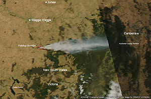 Pulletop Bushfire - MODIS Aqua satellite image of the bushfire on 6 February 2006.