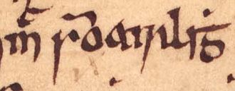 Clann Ruaidhrí - The name of Mac Somhairle, a man who may be identical to Ruaidhrí himself, as it appears on folio 67r of Oxford Bodleian Library Rawlinson B 489.