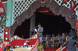 Madhav Kumar Nepal - Prime Minister Madhav Kumar Nepal delivering a speech at the Army Stadium (Tundikhel) on the occasion of Democracy Day.