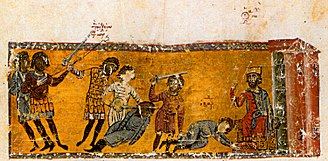 Michael III - The assassination of Bardas the Caesar at the feet of Michael III