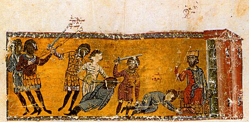 The assassination of Bardas the Caesar at the feet of Michael III MadridSkylitzesAssassinationBardasFol80ra.jpg