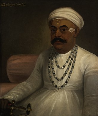 Shah Alam II - Shah Alam returned to the throne in Delhi in 1772, under the protection of the Maratha general Mahadaji Shinde(pictured).