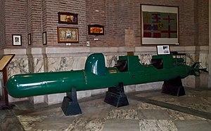 "Luigi Durand de la Penne - A Human Torpedo SLC or ""Maiale"", exhibited in the Museo Sacrario delle Bandiere delle Forze Armate, in Rome, Italy."