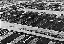 Aerial photo of the Majdanek concentration camp, in the process of being demolished late in the war