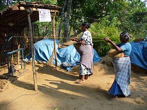 Coir - Making coir rope in Kerala, India