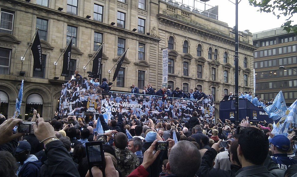 Manchester City FC parade after winning the 2010-11 FA Cup