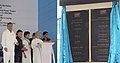 Manmohan Singh unveiling the plaque to dedicate the NTPC's 2980 MW Rajiv Gandhi Sipat Super Thermal Power Station to the Nation, at Sipat, in Bilaspur district of Chhattisgarh. The Governor of Chhattisgarh.jpg