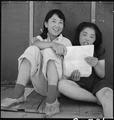 Manzanar Relocation Center, Manzanar, California. Evacuee girls practicing the songs they learned i . . . - NARA - 538089.tif