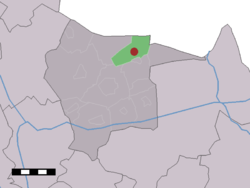 The village (dark red) and the statistical district (light green) of Mander in the municipality of Tubbergen.