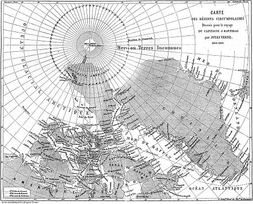 Map from Journeys and Adventures of Captain Hatteras by Jules Verne
