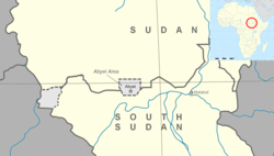 The Abyei Area is the area in grey indicated in the middle of the map.