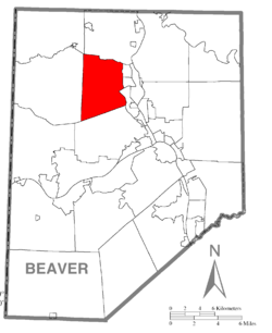 Map of Beaver County, Pennsylvania highlighting Chippewa Township