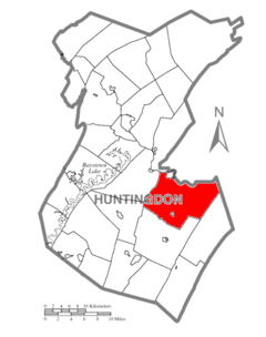 Map of Huntingdon County, Pennsylvania Highlighting Shirley Township.PNG
