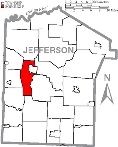 Map of Jefferson County, Pennsylvania Highlighting Rose Township.PNG