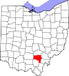 State map highlighting Vinton County