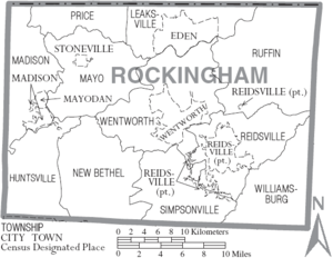 Map of Rockingham County, North Carolina With Municipal and Township Labels