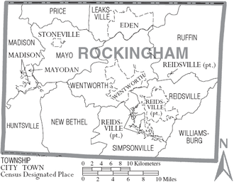 Rockingham County, North Carolina - Map of Rockingham County, North Carolina With Municipal and Township Labels