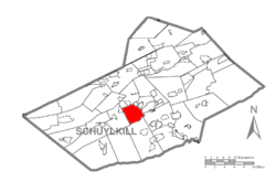 Map of Schuylkill County, Pennsylvania Highlighting Branch Township